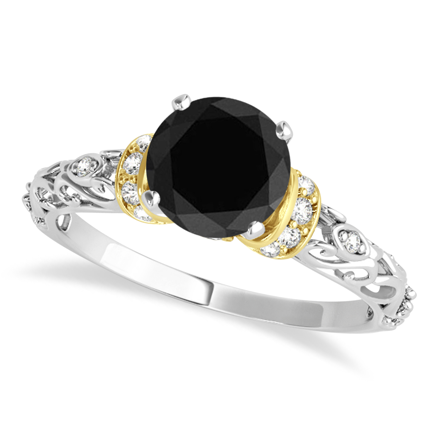 Black Diamond & Diamond Antique Style Engagement Ring 14k Two-Tone Gold (1.12ct)
