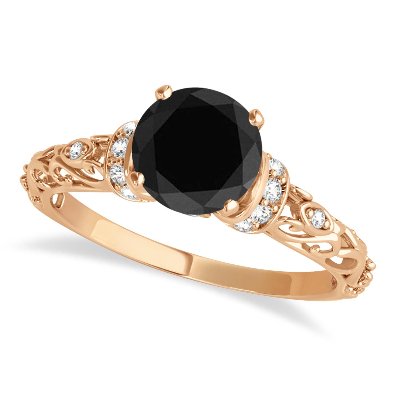 Black Diamond & Diamond Antique Style Engagement Ring 14k Rose Gold (1.62ct)
