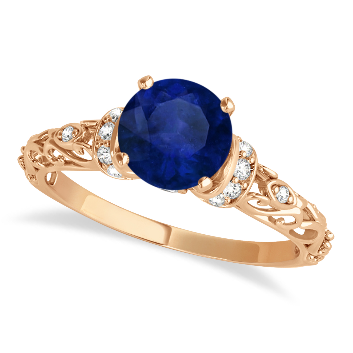 Blue Sapphire & Diamond Antique Style Engagement Ring 14k Rose Gold (0.87ct)