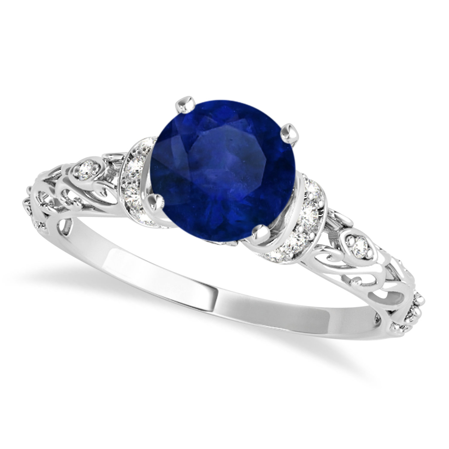 Blue Sapphire & Diamond Antique Style Engagement Ring 14k White Gold (0.87ct)