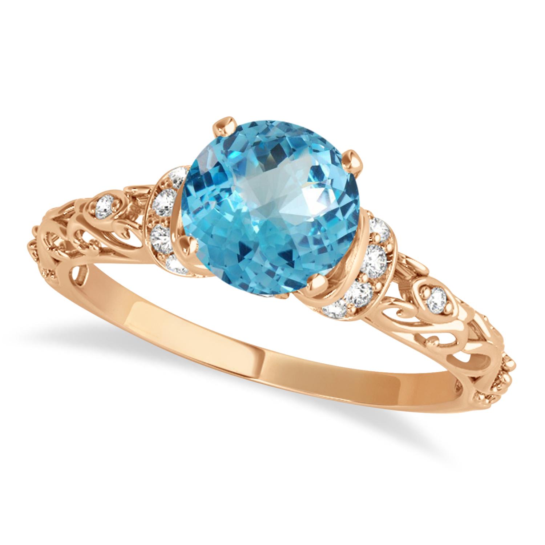 Blue Topaz & Diamond Antique Style Engagement Ring 14k Rose Gold (0.87ct)