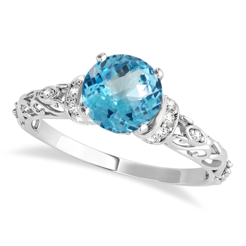 Blue Topaz & Diamond Antique Style Engagement Ring 14k White Gold (1.12ct)