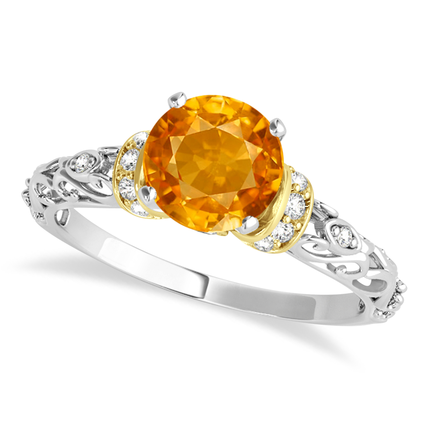 Citrine & Diamond Antique Style Engagement Ring 18k Two-Tone Gold (0.87ct)