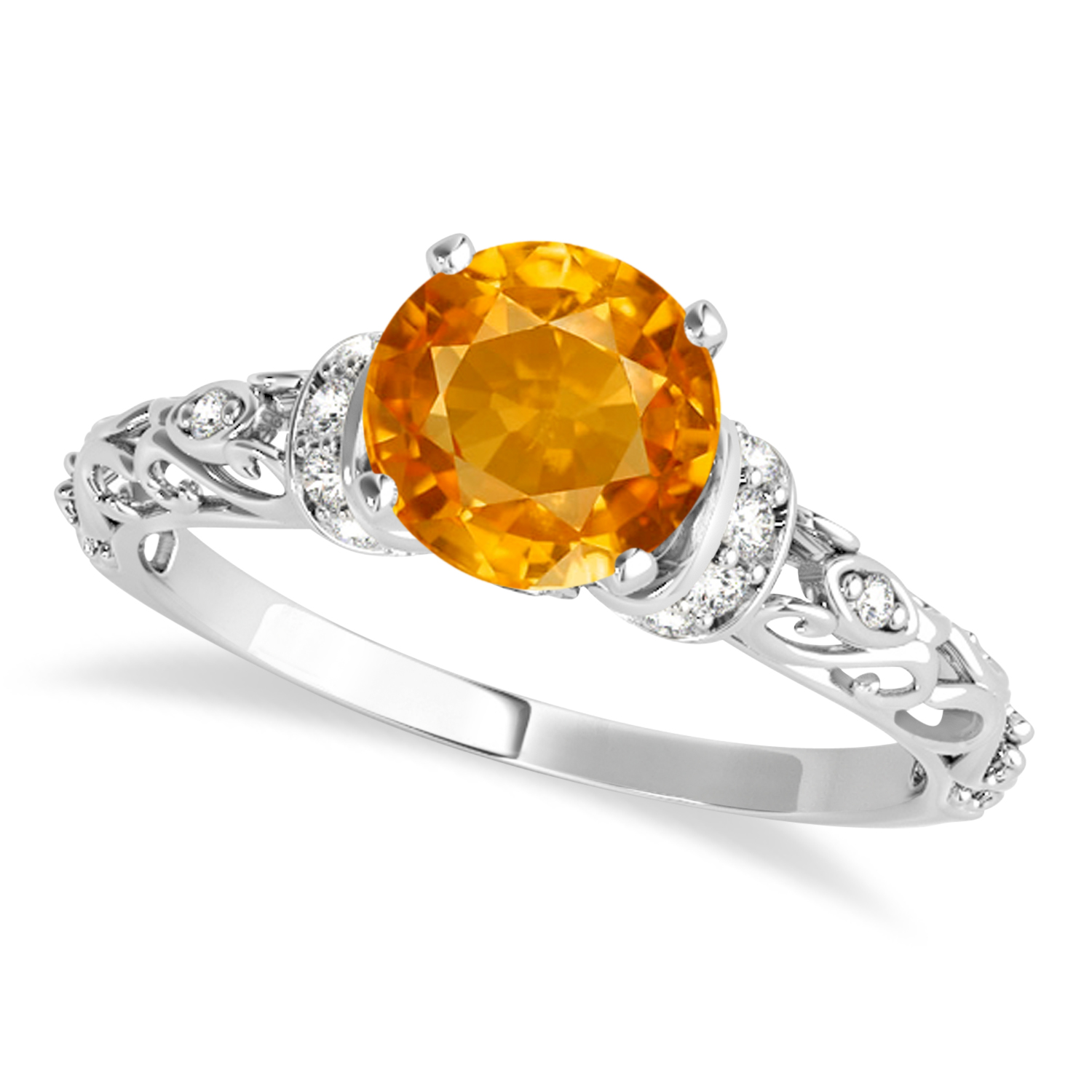 Citrine & Diamond Antique Style Engagement Ring Palladium (0.87ct)