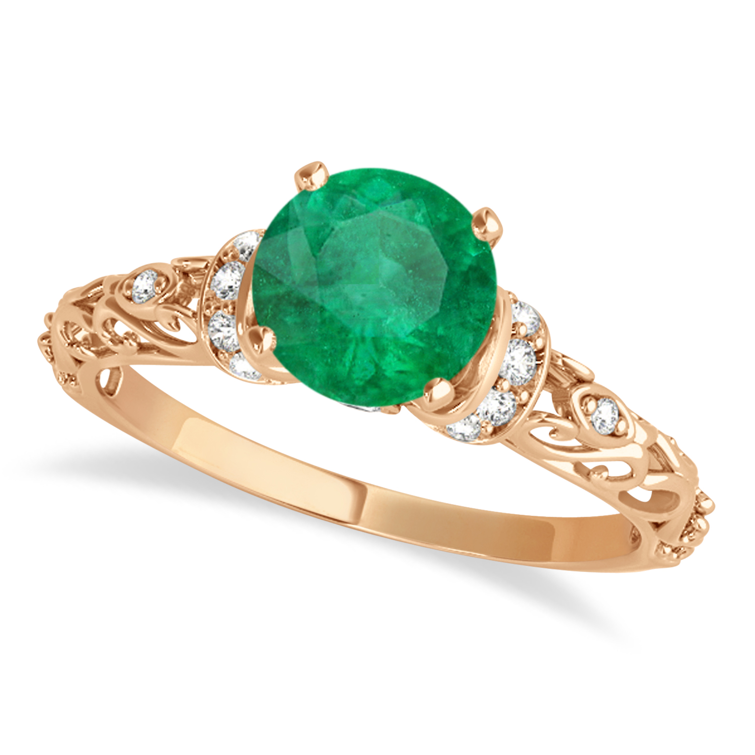 Emerald & Diamond Antique Style Engagement Ring 14k Rose Gold (0.87ct)