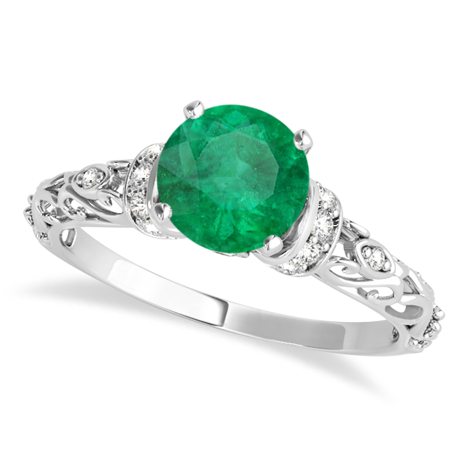 Emerald & Diamond Antique Style Engagement Ring 14k White Gold (0.87ct)