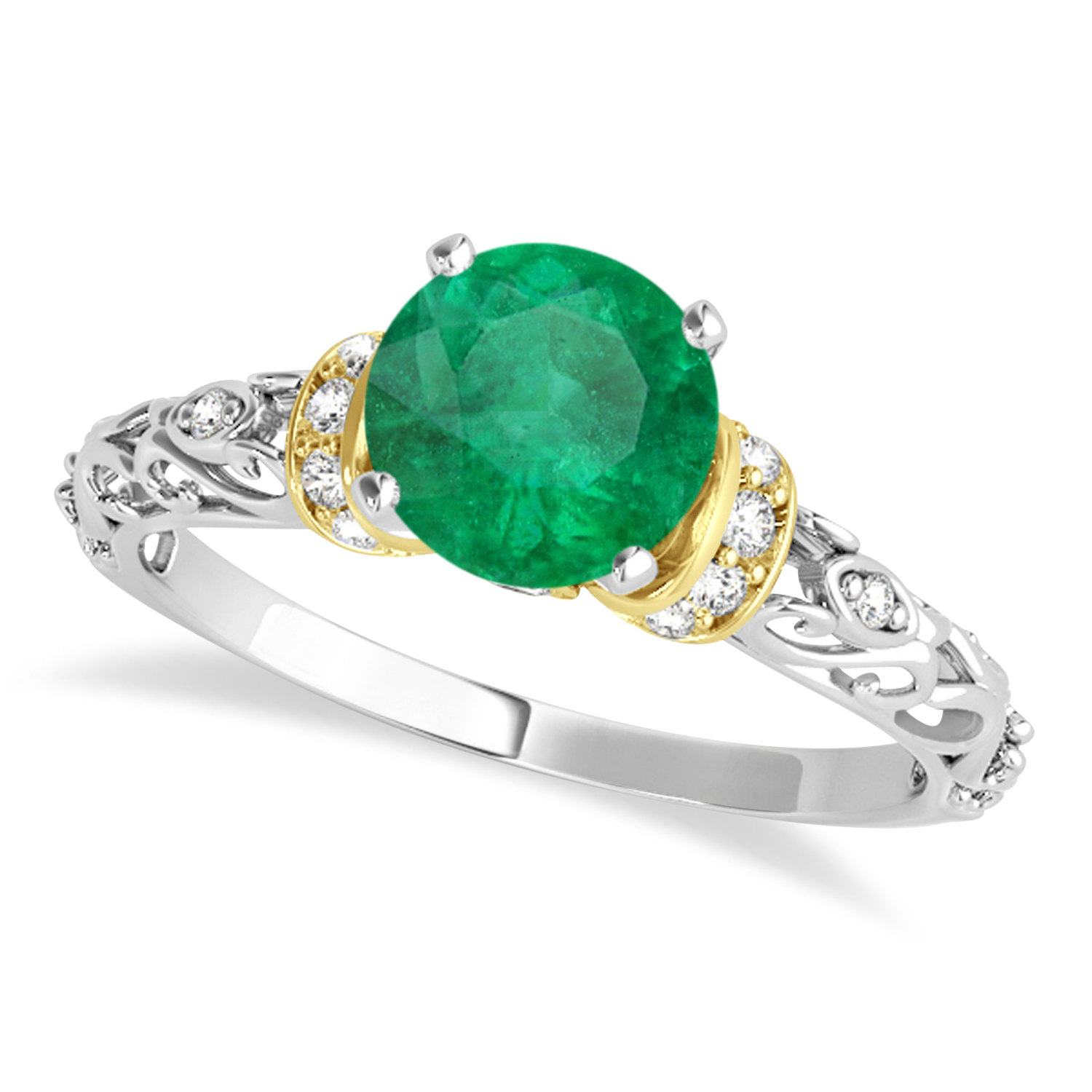 Emerald & Diamond Antique Style Engagement Ring 14k Two-Tone Gold (1.12ct)