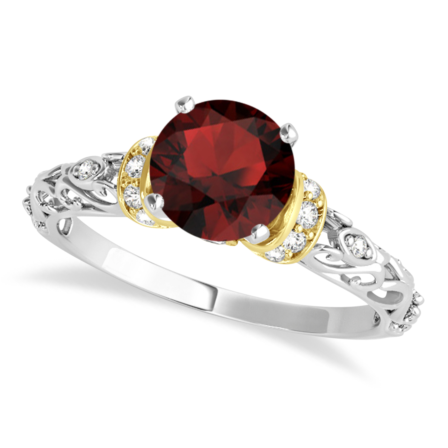 Garnet & Diamond Antique Style Engagement Ring 18k Two-Tone Gold (0.87ct)