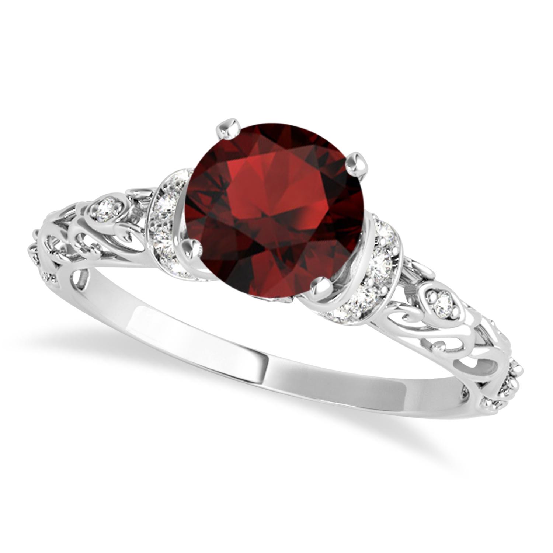 Garnet & Diamond Antique Style Engagement Ring 18k White Gold (1.12ct)