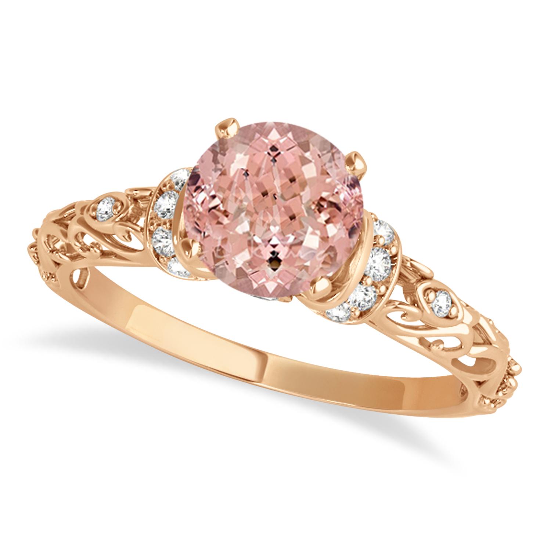 Morganite & Diamond Antique Style Engagement Ring 14k Rose Gold (1.12ct)