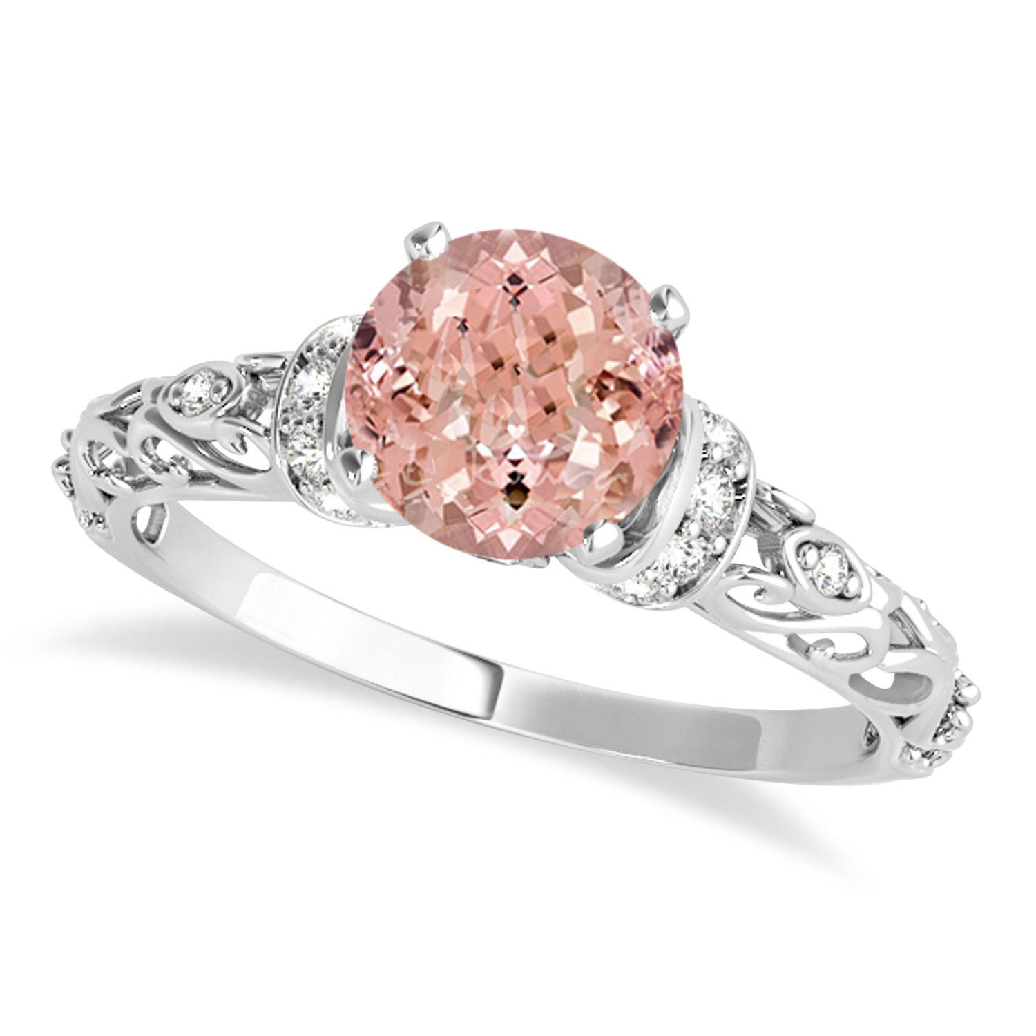 Morganite & Diamond Antique Style Engagement Ring 14k White Gold (1.12ct)
