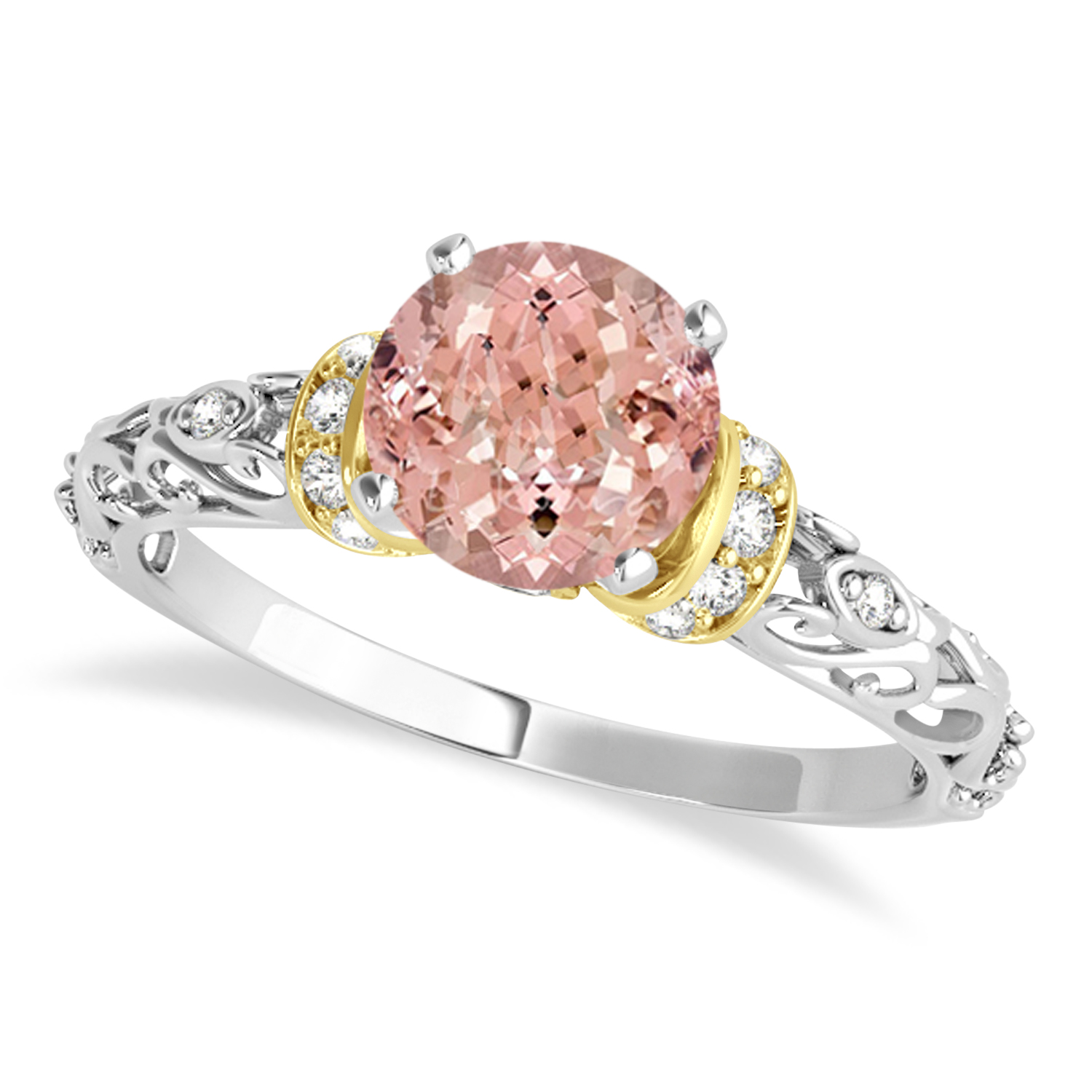 Morganite & Diamond Antique Style Engagement Ring 18k Two-Tone Gold (1.62ct)