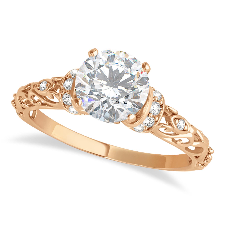 Moissanite & Diamond Antique Style Engagement Ring 14k Rose Gold (1.12ct)