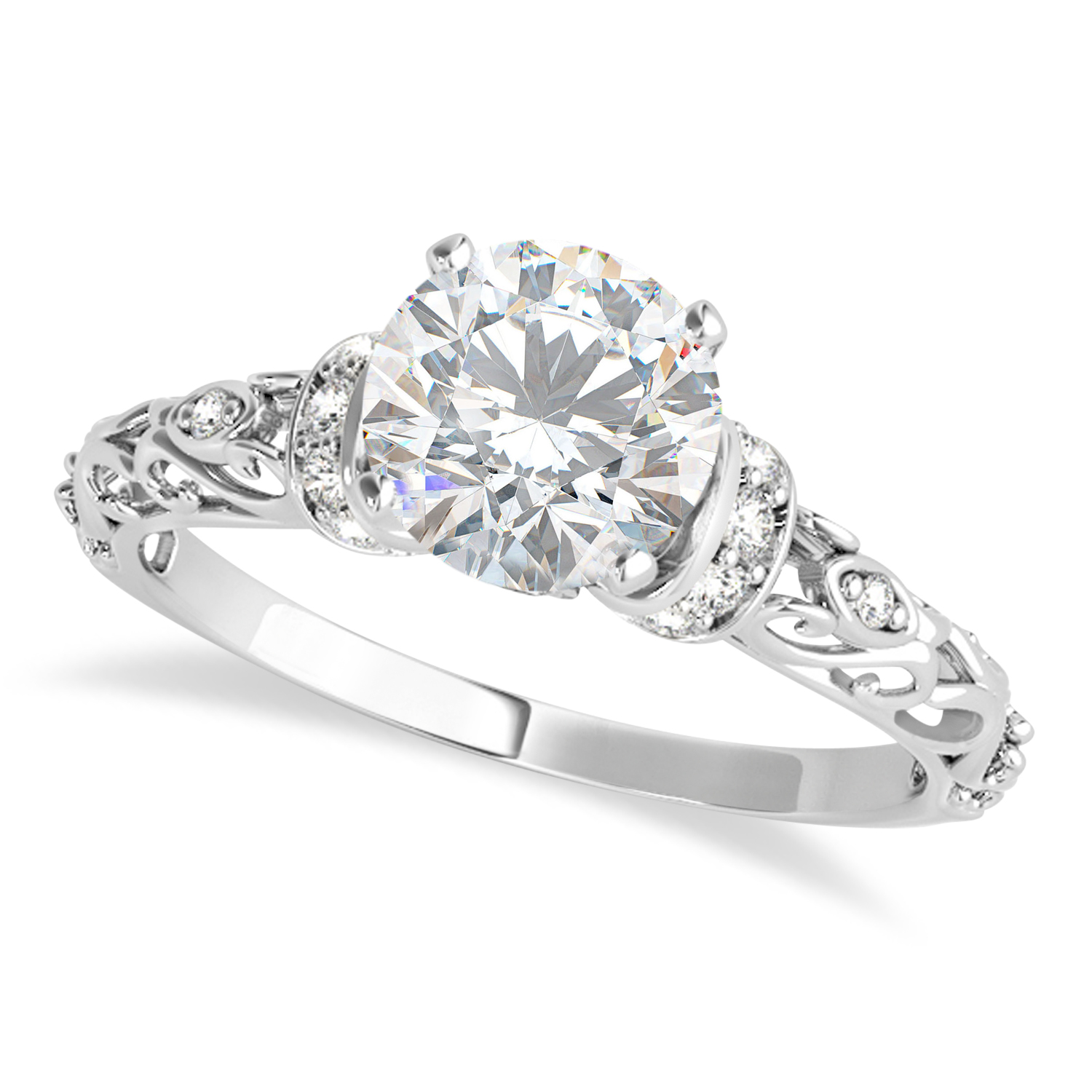 Moissanite & Diamond Antique Style Engagement Ring 18k White Gold (1.62ct)