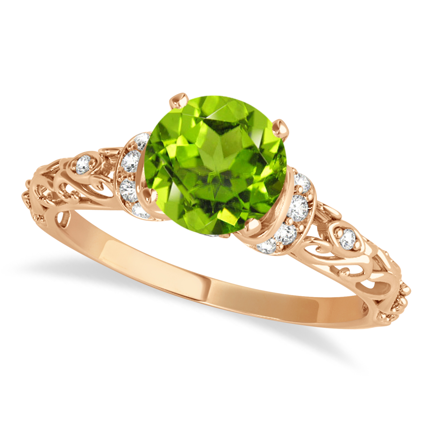 Peridot & Diamond Antique Style Engagement Ring 14k Rose Gold (0.87ct)