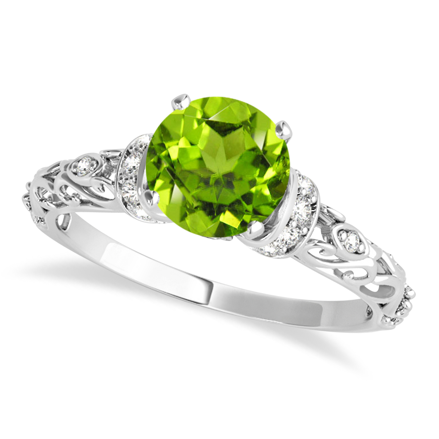Peridot & Diamond Antique Style Engagement Ring 14k White Gold (0.87ct)