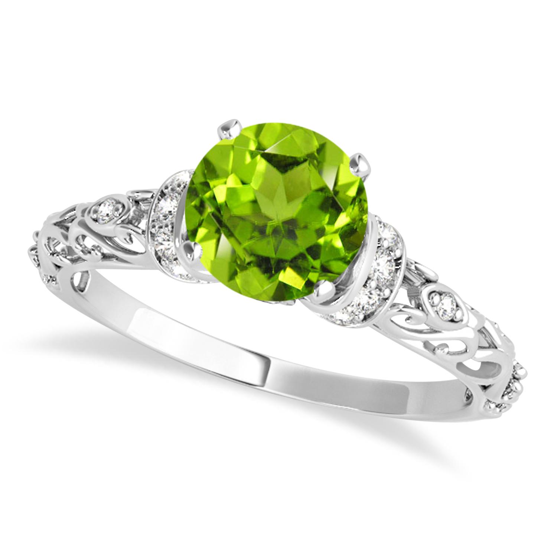 Peridot & Diamond Antique Style Engagement Ring 14k White Gold (1.12ct)