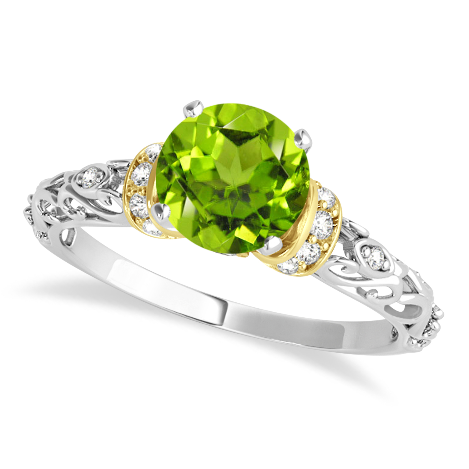 Peridot & Diamond Antique Style Engagement Ring 18k Two-Tone Gold (1.12ct)