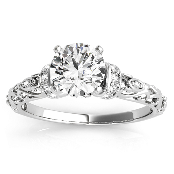 Diamond Antique Style Engagement Ring Setting Palladium (0.12ct)