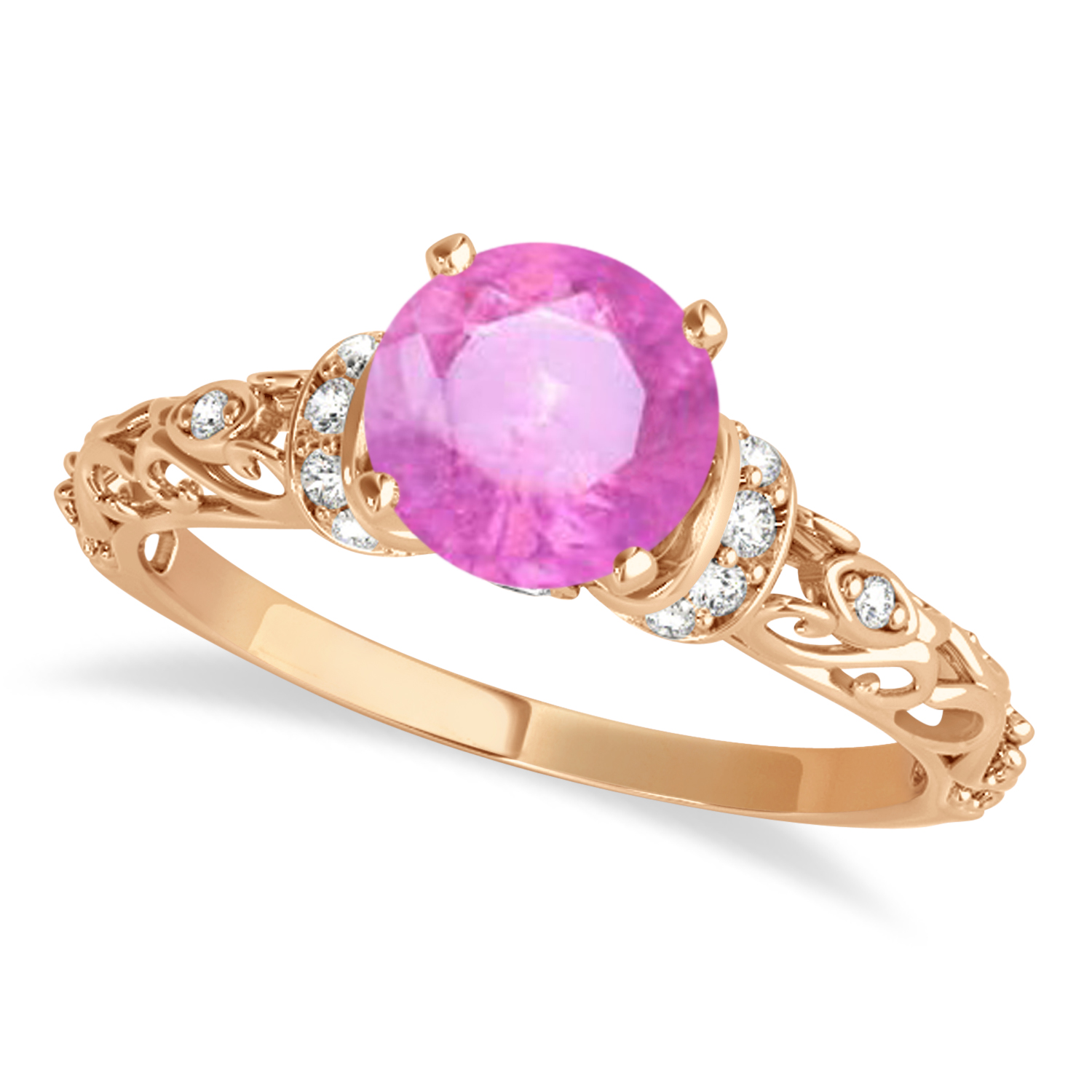 Pink Sapphire & Diamond Antique Style Engagement Ring 14k Rose Gold (0.87ct)