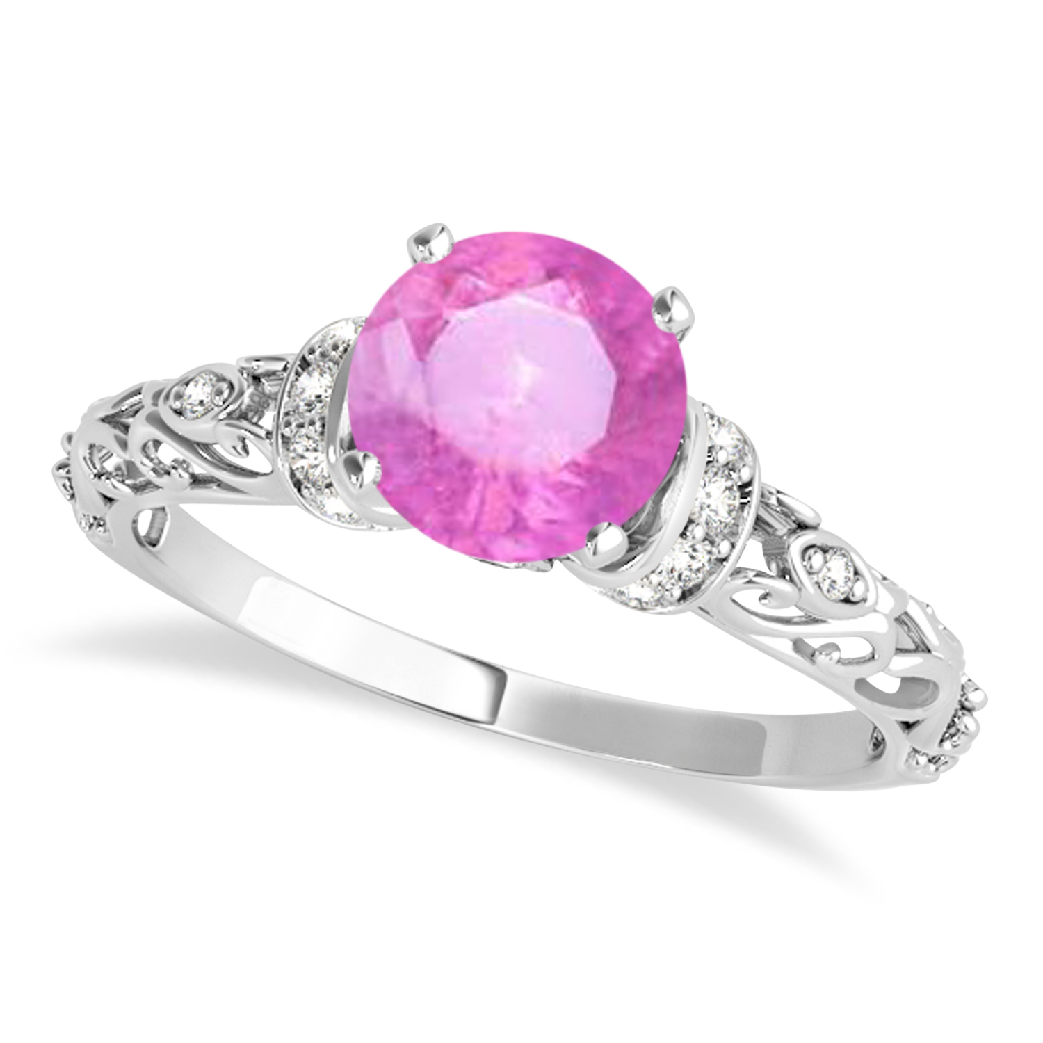 Pink Sapphire & Diamond Antique Style Engagement Ring 14k White Gold (0.87ct)
