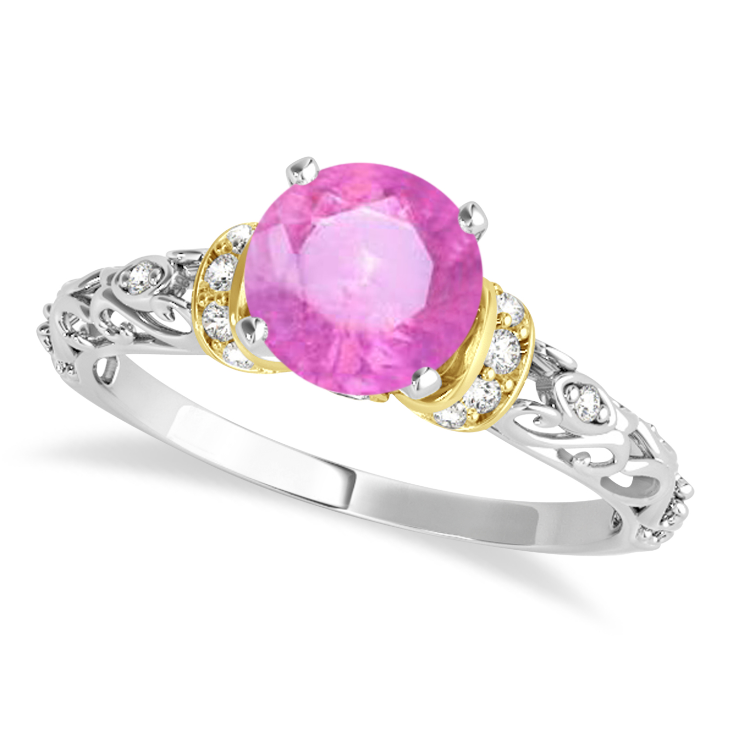 Pink Sapphire & Diamond Antique Style Engagement Ring 18k Two-Tone Gold (1.12ct)