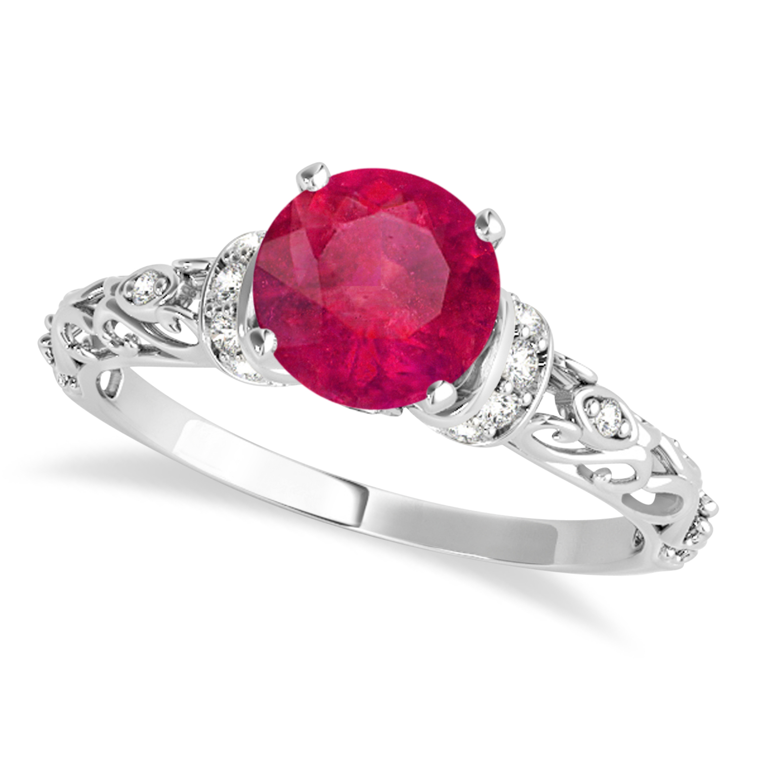 Ruby & Diamond Antique Style Engagement Ring 14k White Gold (0.87ct)