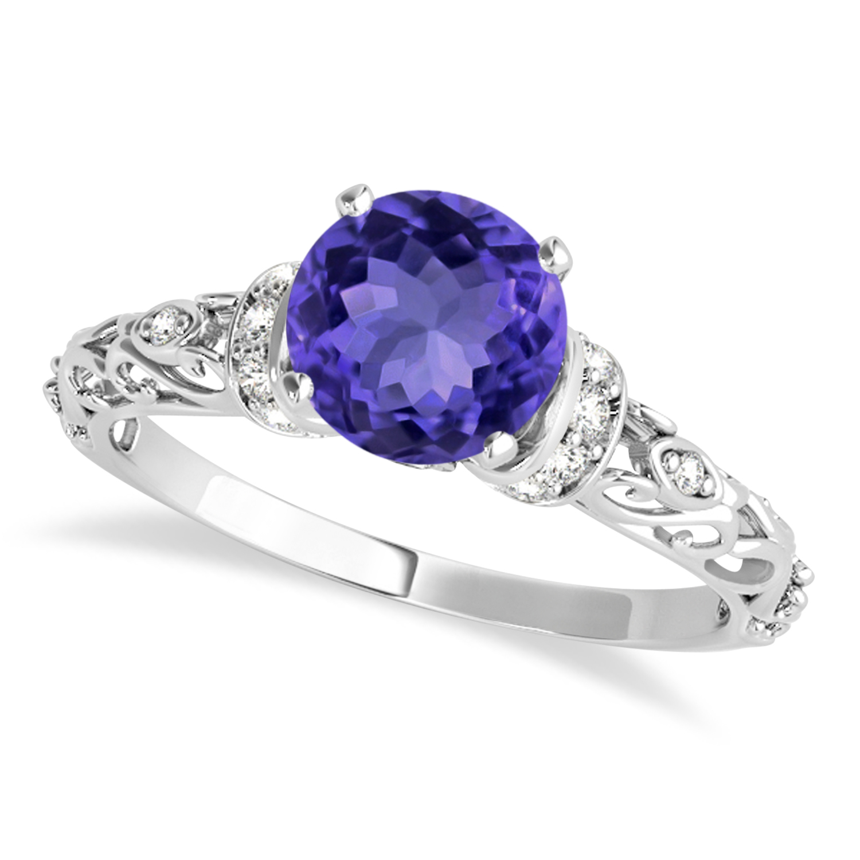 Tanzanite & Diamond Antique Style Engagement Ring 14k White Gold (0.87ct)