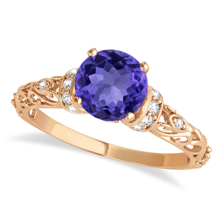Tanzanite & Diamond Antique Style Engagement Ring 14k Rose Gold (1.12ct)