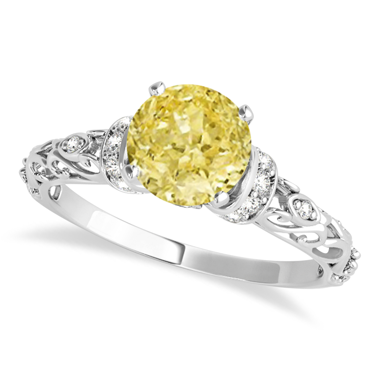Yellow Diamond & Diamond Antique Style Engagement Ring 14k White Gold (0.87ct)