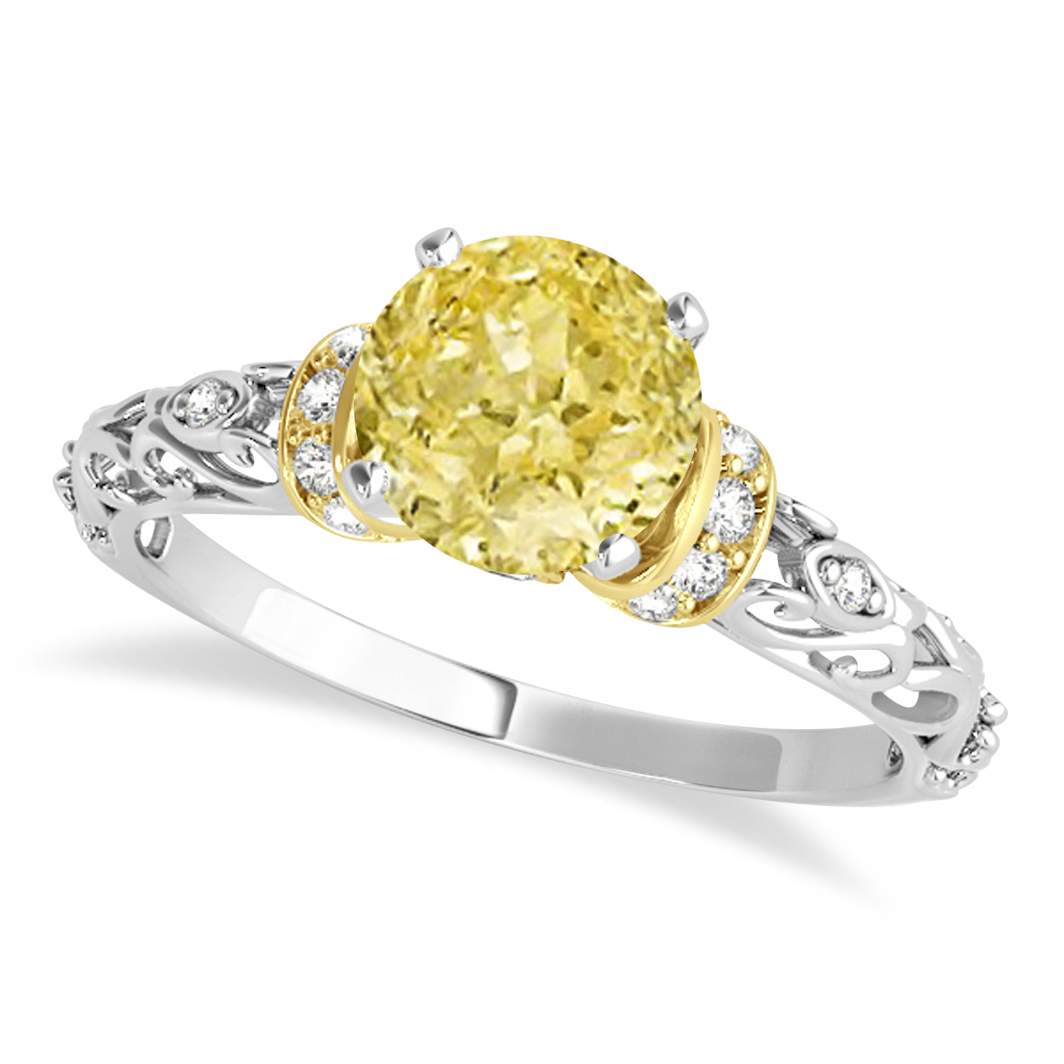 Yellow Diamond & Diamond Antique Style Engagement Ring 14k Two-Tone Gold (1.62ct)