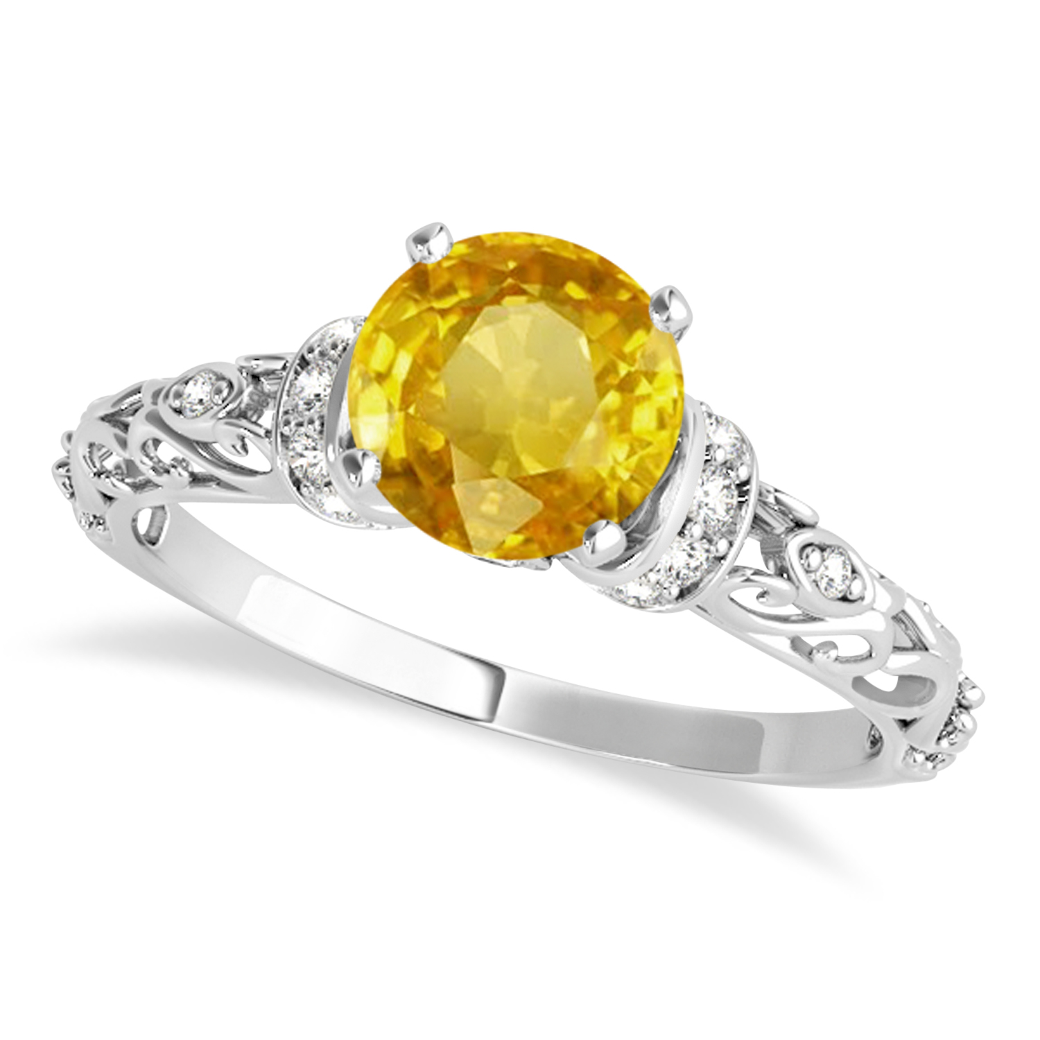 Yellow Sapphire & Diamond Antique Style Engagement Ring 18k White Gold (0.87ct)