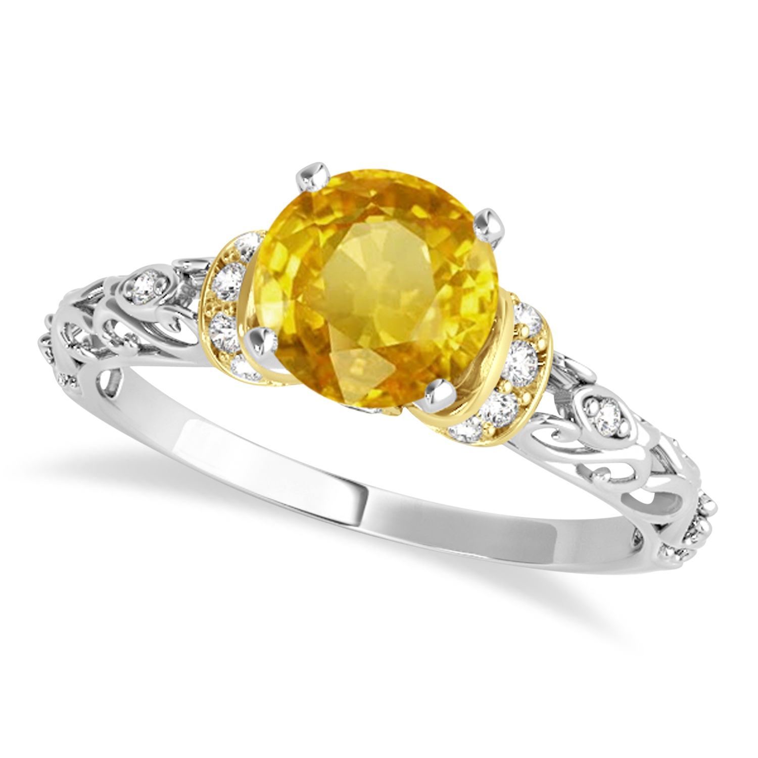 Yellow Sapphire & Diamond Antique Style Engagement Ring 18k Two-Tone Gold (0.87ct)