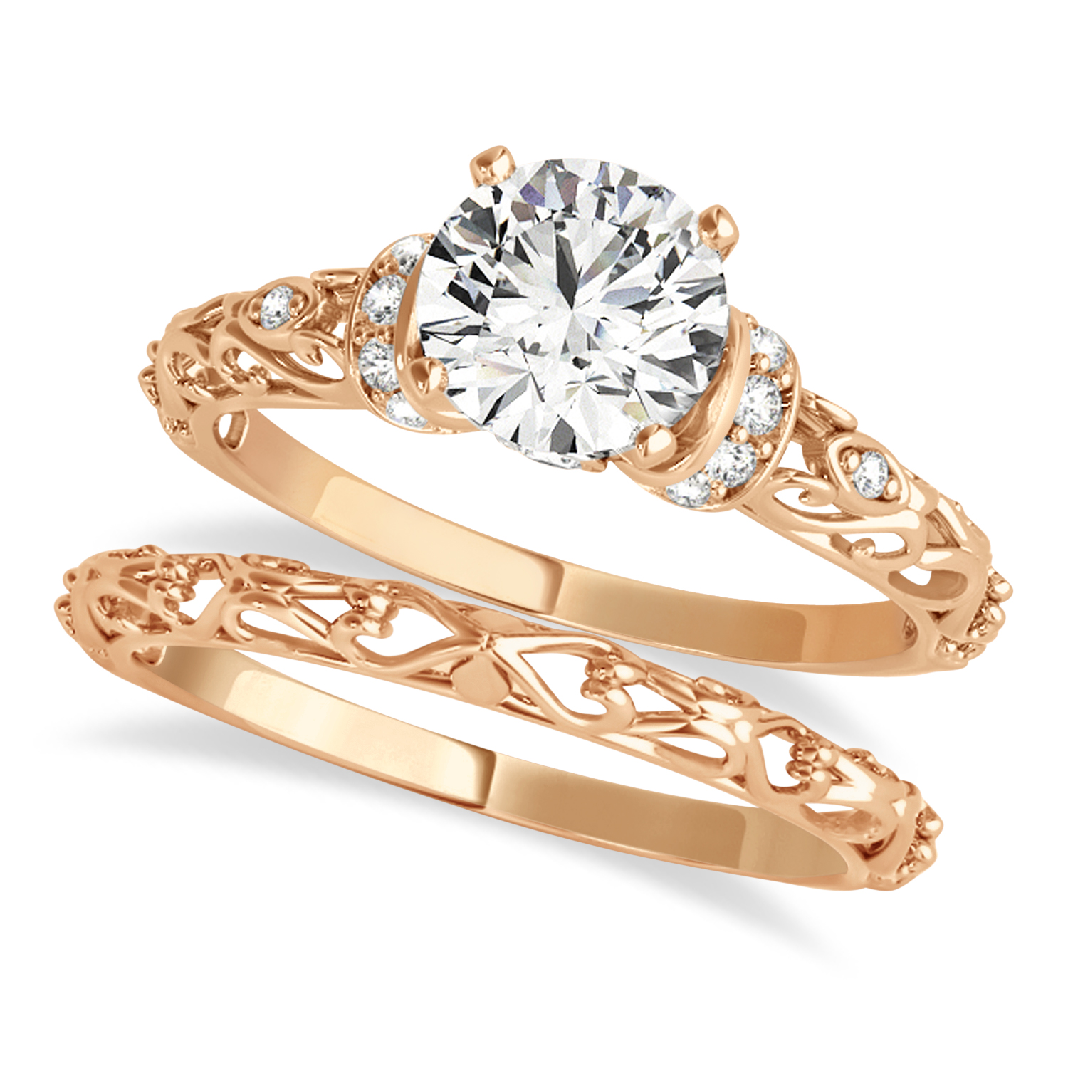 Diamond Antique Style Bridal Set 18k Rose Gold (1.62ct)