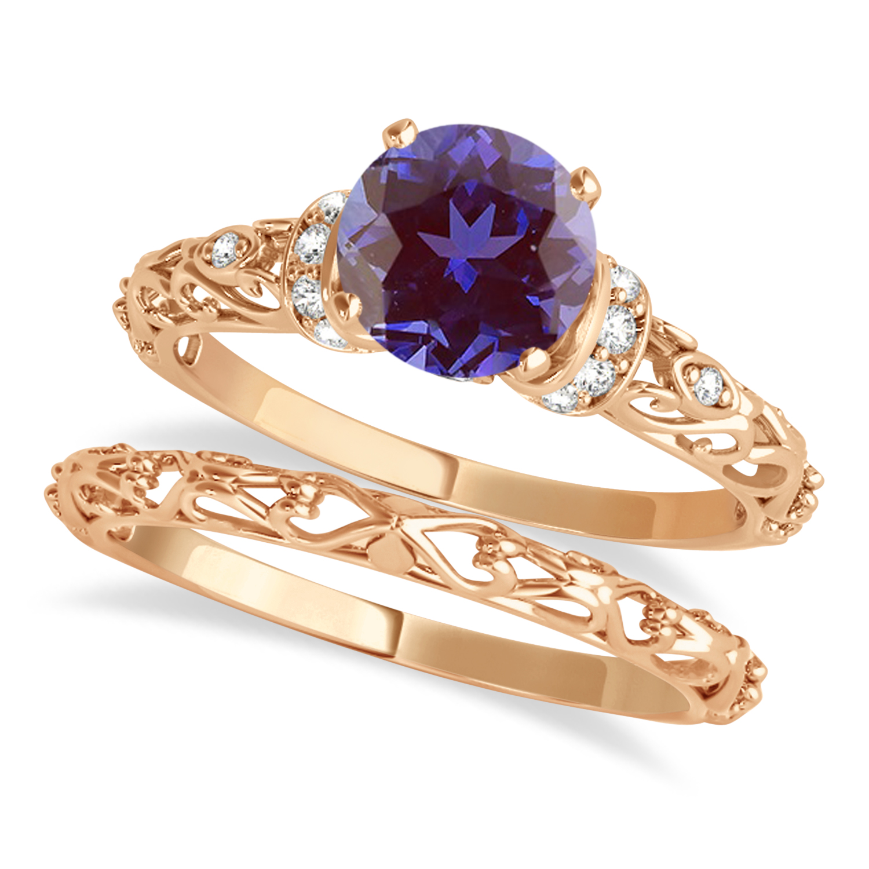 Alexandrite & Diamond Antique Style Bridal Set 18k Rose Gold (0.87ct)