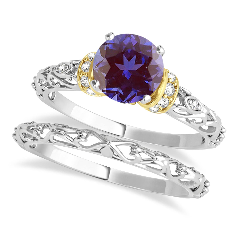 Alexandrite & Diamond Antique Style Bridal Set 18k Two-Tone Gold (0.87ct)