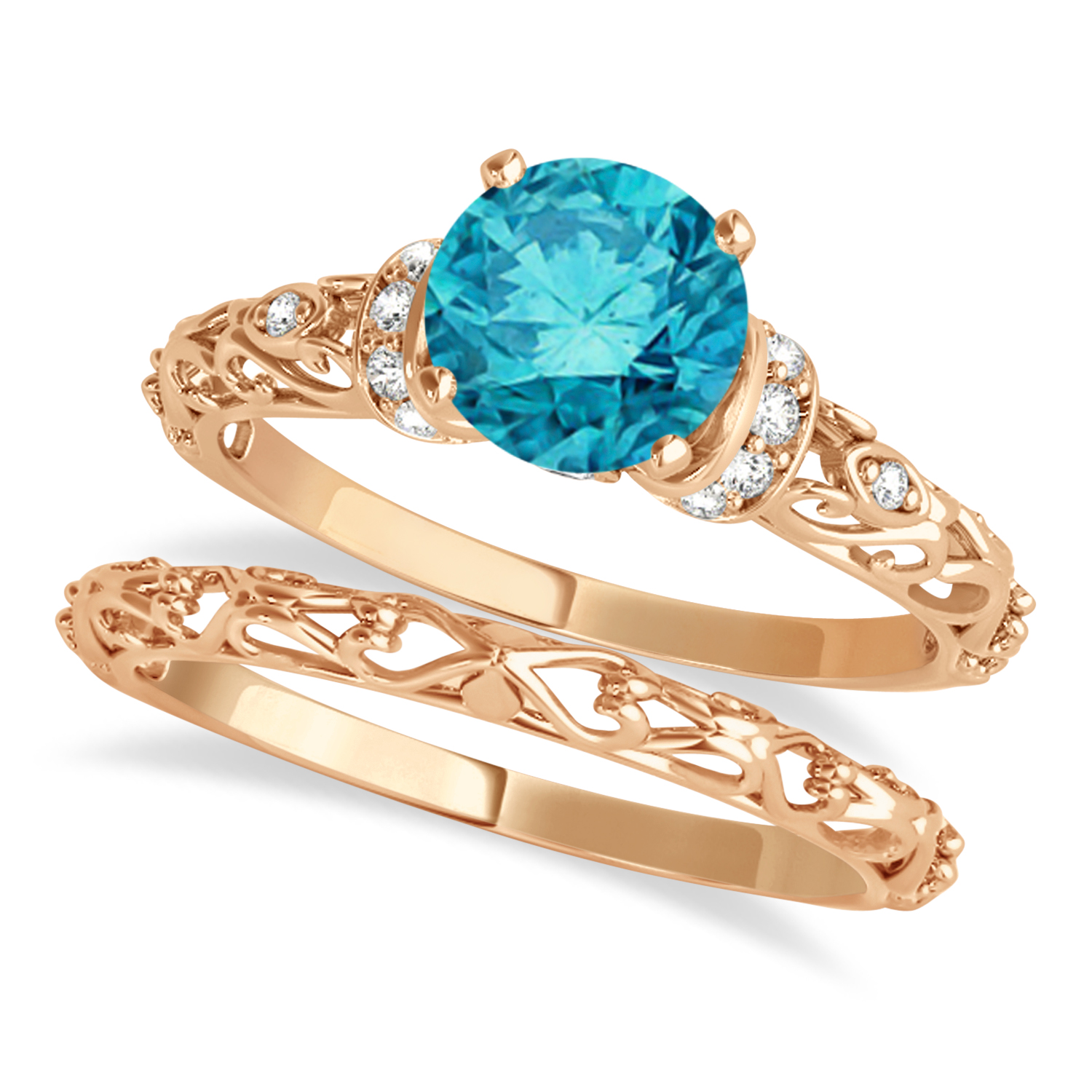 Blue Diamond & Diamond Antique Style Bridal Set 14k Rose Gold (1.12ct)