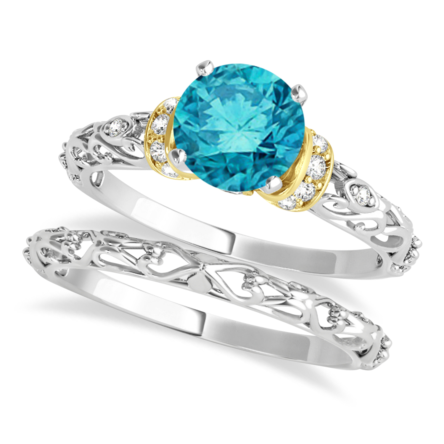 Blue Diamond & Diamond Antique Style Bridal Set 18k Two-Tone Gold (1.62ct)