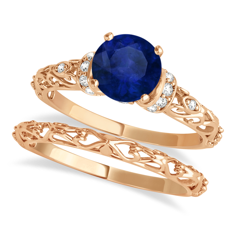 Blue Sapphire & Diamond Antique Style Bridal Set 14k Rose Gold (0.87ct)