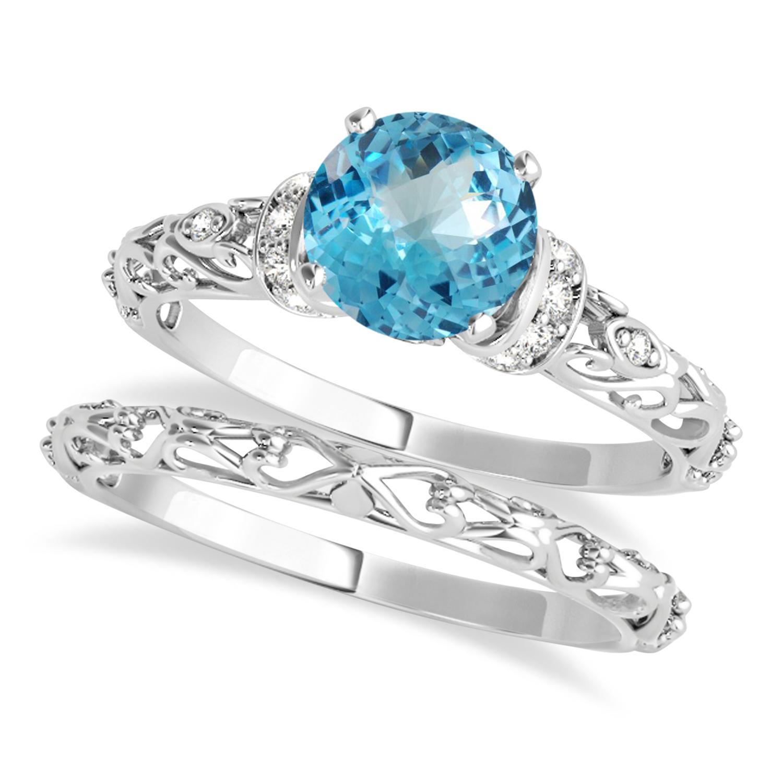 Blue Topaz & Diamond Antique Style Bridal Set 14k White Gold (1.12ct)
