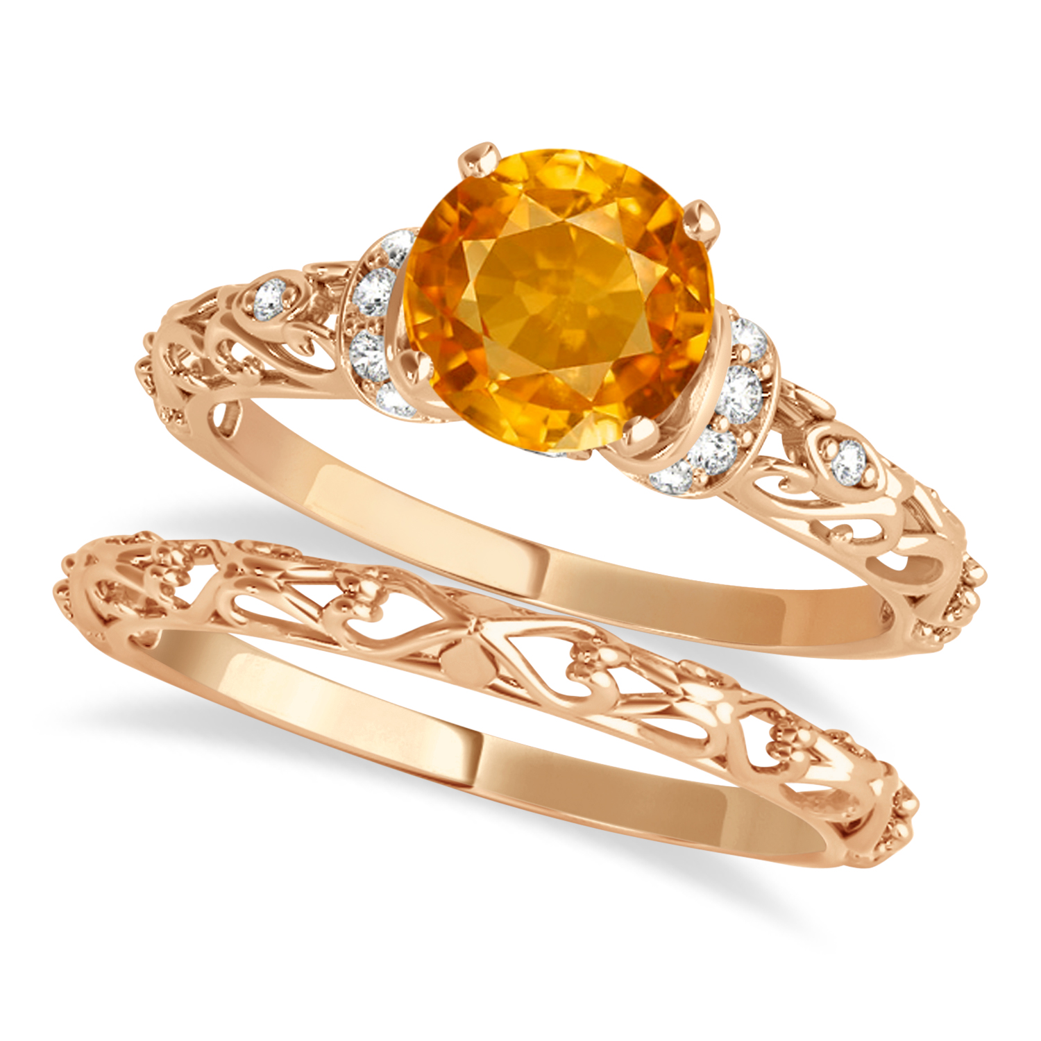 Citrine & Diamond Antique Style Bridal Set 14k Rose Gold (0.87ct)