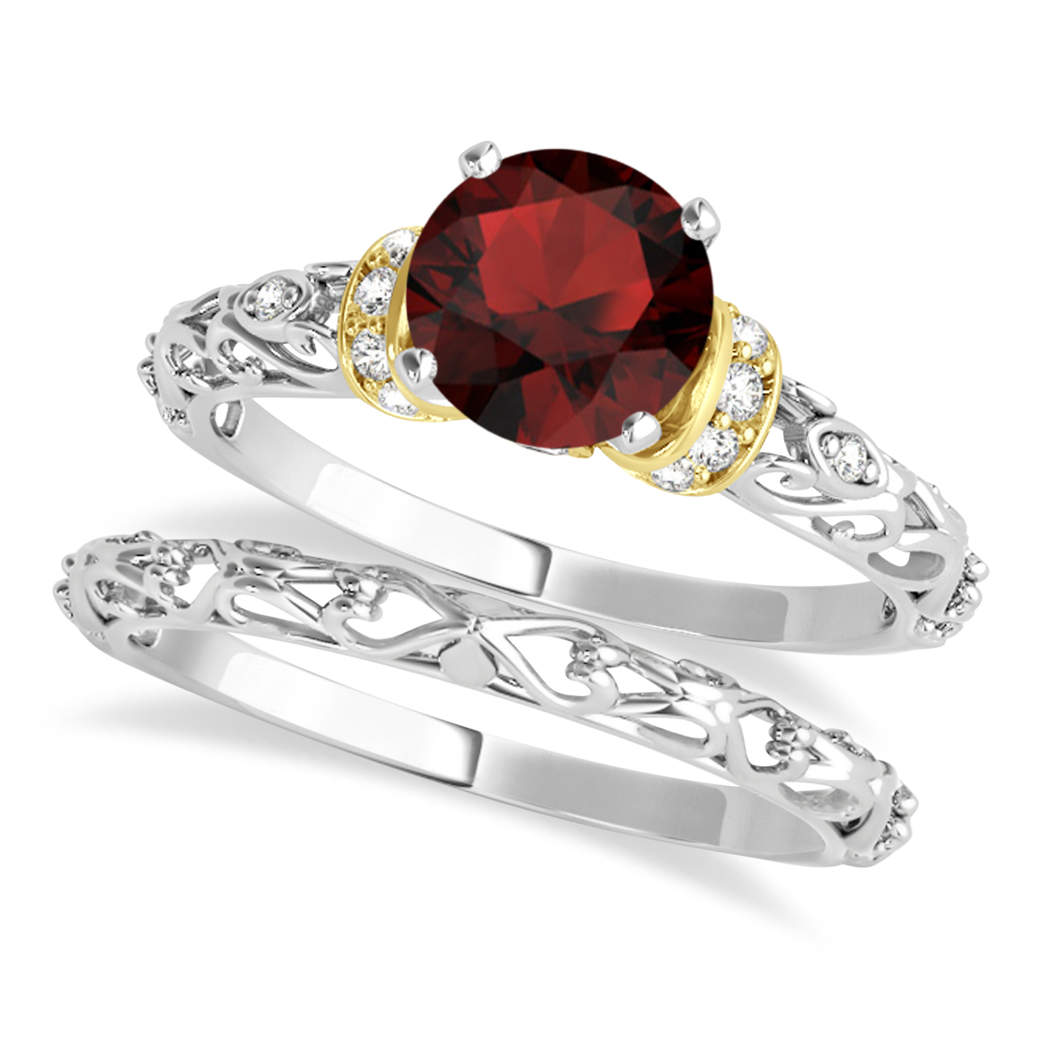Garnet & Diamond Antique Style Bridal Set 18k Two-Tone Gold (0.87ct)
