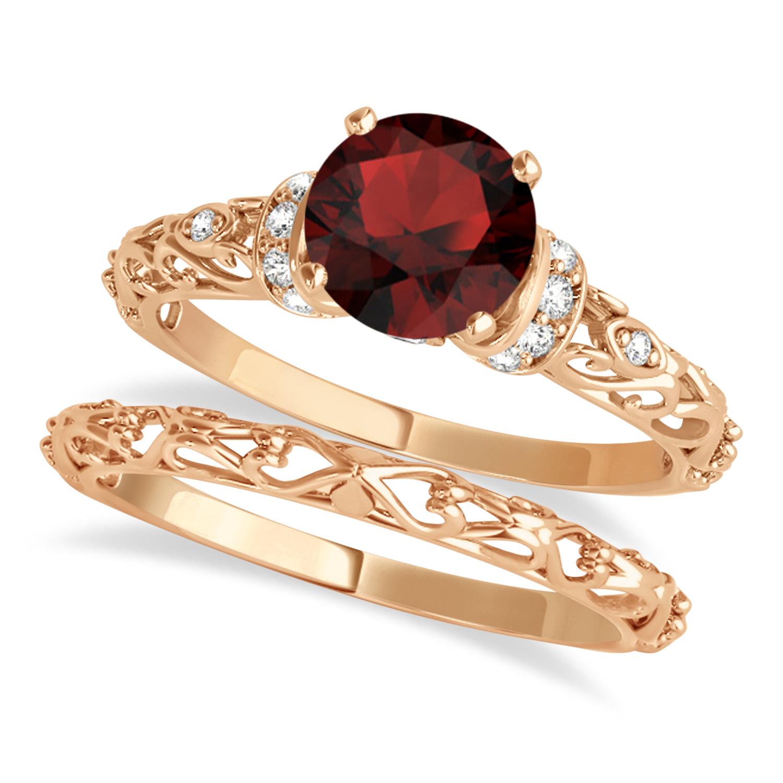 Garnet & Diamond Antique Style Bridal Set 14k Rose Gold (1.12ct)