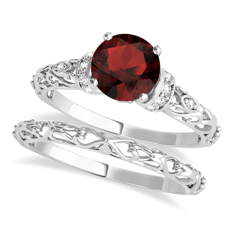 Garnet & Diamond Antique Style Bridal Set Palladium (1.12ct)