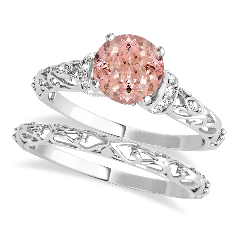 Morganite & Diamond Antique Style Bridal Set 14k White Gold (1.62ct)