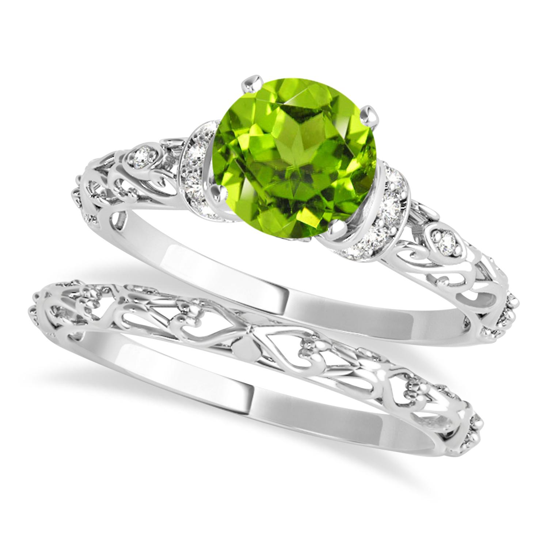 Peridot & Diamond Antique Style Bridal Set 14k White Gold (1.62ct)