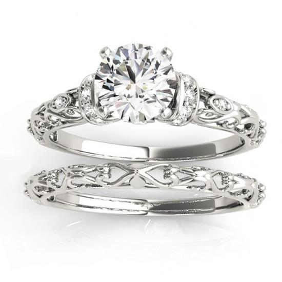 Diamond Antique Style Bridal Set Setting Palladium (0.12ct)