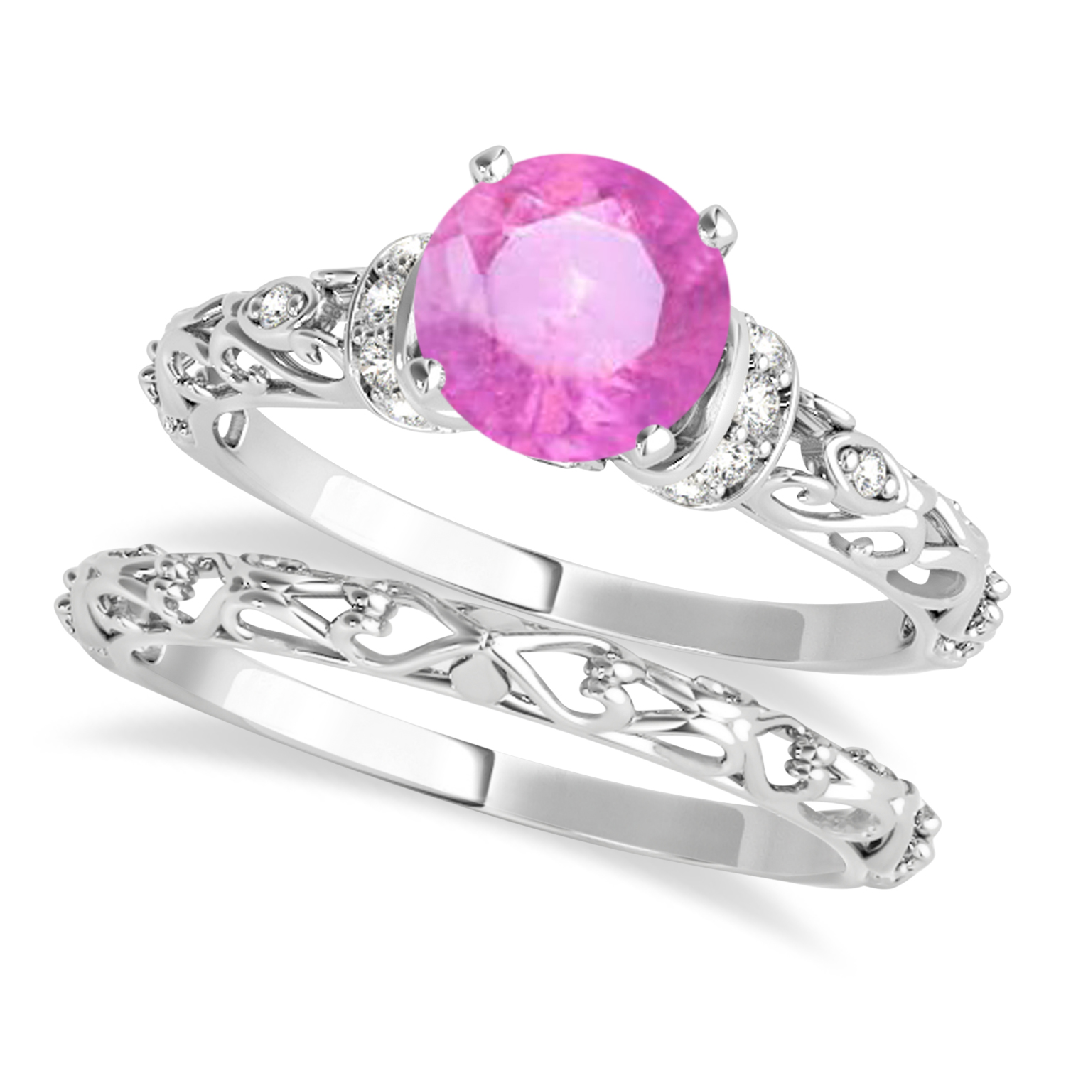 Pink Sapphire & Diamond Antique Style Bridal Set 18k White Gold (0.87ct)