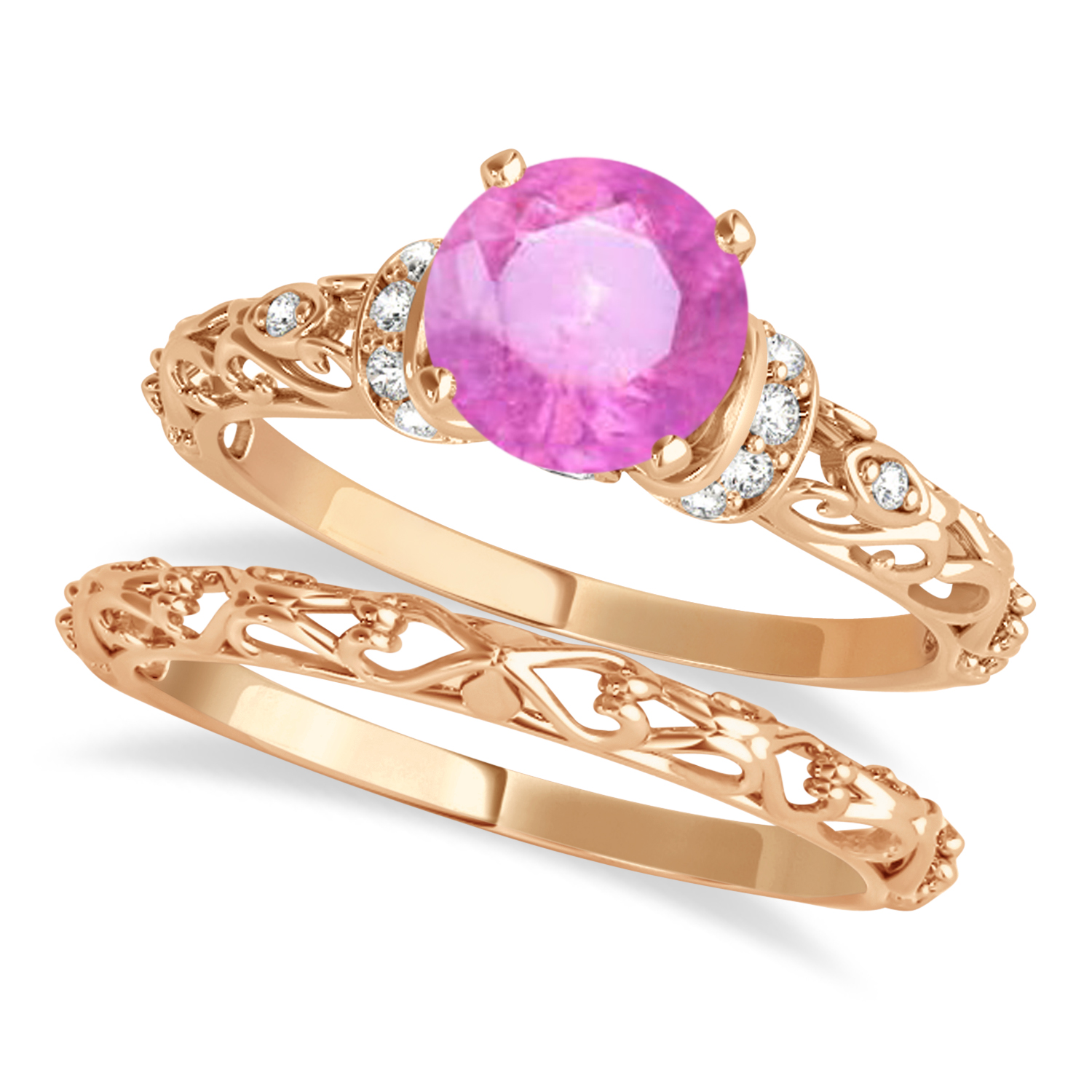 Pink Sapphire & Diamond Antique Style Bridal Set 14k Rose Gold (1.62ct)
