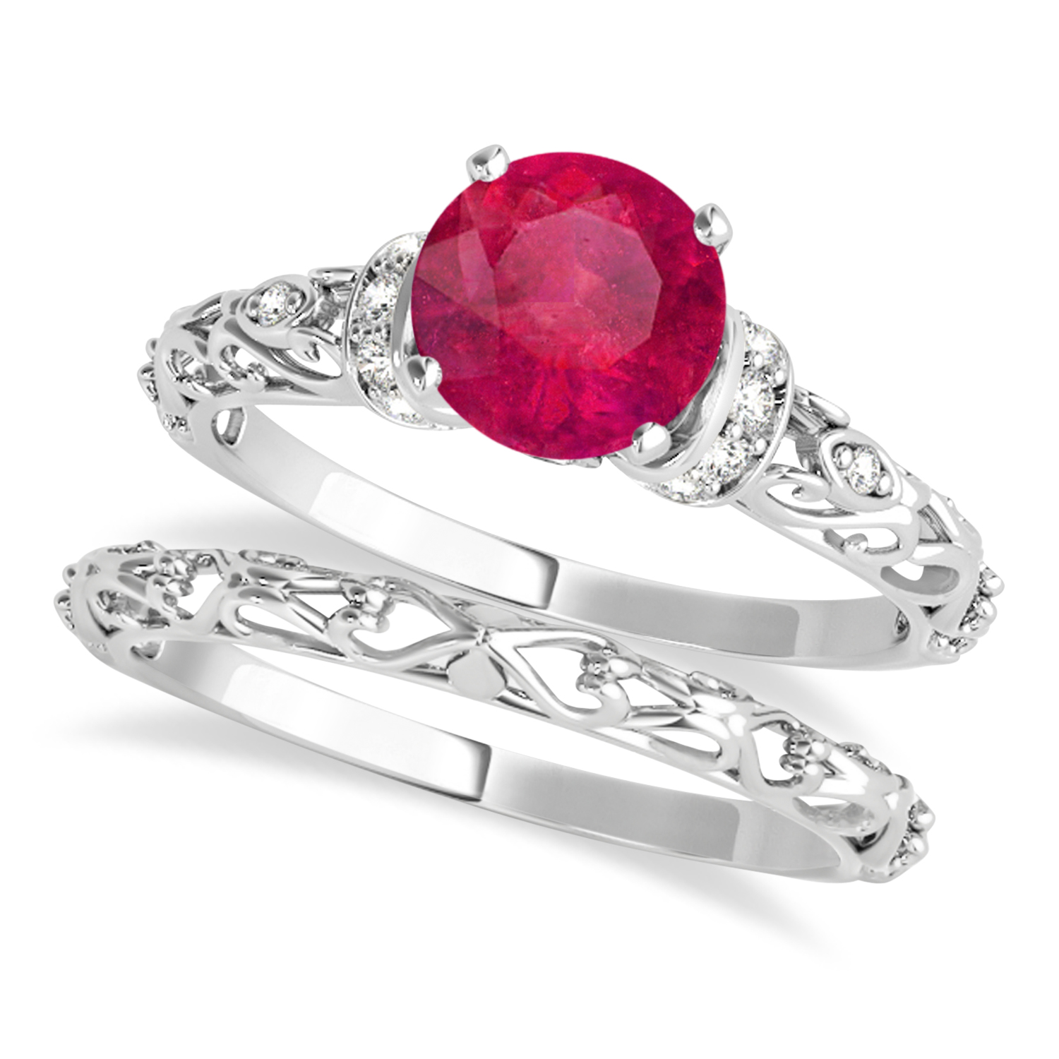 Ruby & Diamond Antique Style Bridal Set 18k White Gold (1.62ct)